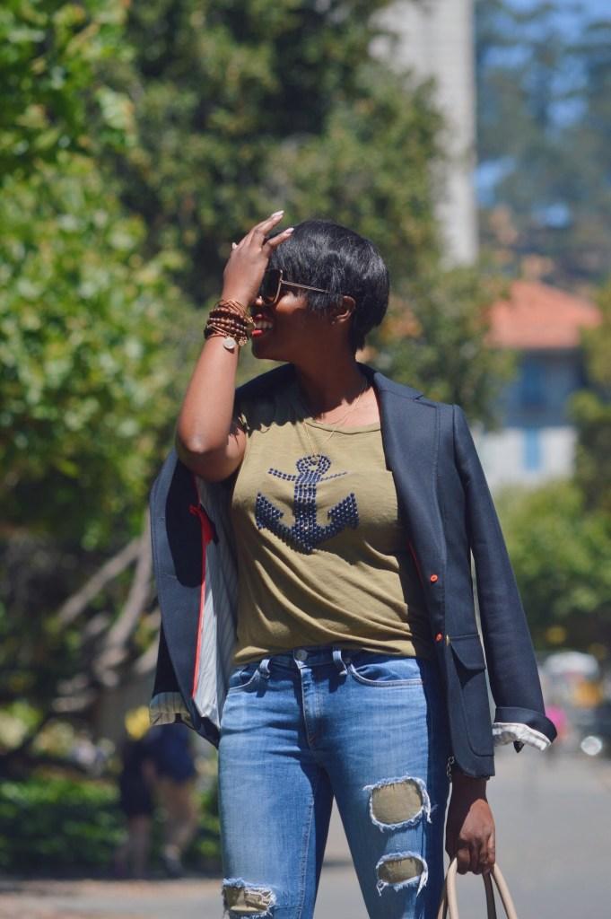 sunglass.la sunglasses j.crew Rhodes blazer navy j.crew anchor tee rag and bone distressed denim with suede patches asos white leather pumps Celine mini luggage handbag pebbled leather dune San Francisco Bay Area fashion style blog blogger