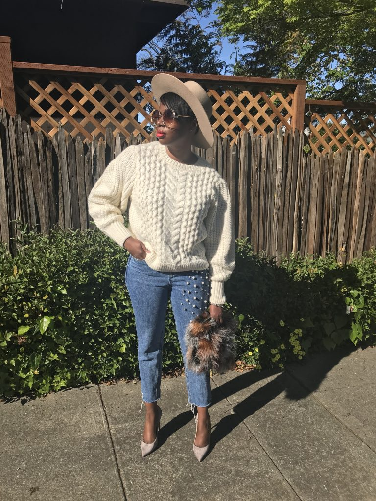 asos puff sleeve sweater storets pearl embellished jeans Louboutin so kate pump storm suede lack of color wool hat sunglass.la sunglasses she the collection faux fur clutch San Francisco fashion blogger San Francisco fashion blog sf fashion blogger sf fashion blog Bay Area fashion blogger Bay Area fashion blog