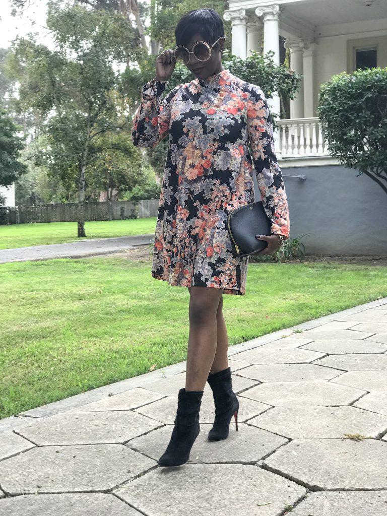 zara floral dress Louboutin Ishtar black booties chloe sunglasses cuyana travel cosmetics pouch as a clutch sf San Francisco Bay Area fashion style blog blogger