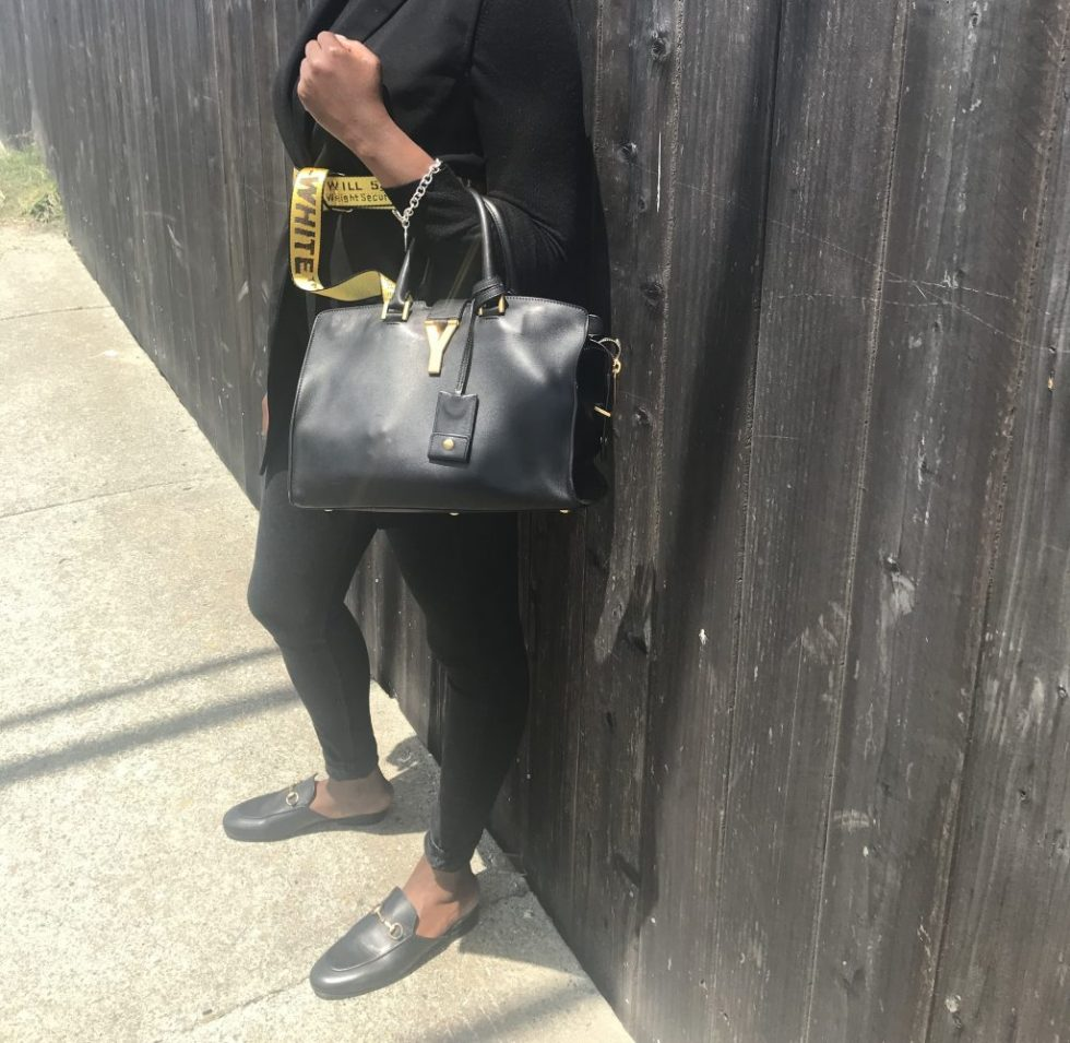 forever 21 vest Zara turtleneck Zara high waisted jeans gucci princetown leather mules ysl saint laurent y cabas satchel handbag off white belt asos cabby hat Tom Ford sunglasses ready to wear sf San Francisco Bay Area fashion style blog blogger