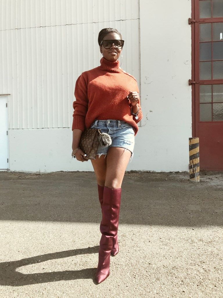 zara pumpkin oversized sweater levis wedgie fit cutoff shorts zara burgundy satin over the knee otk boots louis vuitton toiletry pouch 26 monogram canvas celine shadow sunglasses cocoa butter diaries sf san francisco bay area fashion style blog blogger