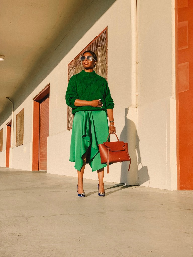 San Francisco style blogger Amber Richele of The Cocoa Butter Diaries shares a monochromatic look to celebrate the arrival of fall and her desire to try new things (like wearing more color)