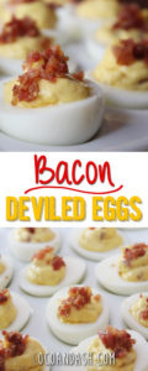 Bacon Deviled Eggs, deviled eggs with bacon, the best deviled eggs, coco and ash deviled eggs, deviled eggs, hard boiled eggs, deviled eggs appetizer, deviled eggs recipe