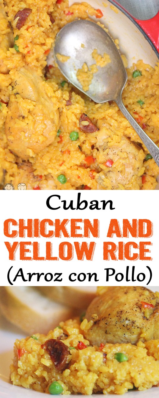 Chicken and yellow rice, arroz con pollo, cuban chicken rice, cuban yellow rice, yellow rice recipe, cuban food, Chicken and Yellow Rice (Arroz con Pollo)
