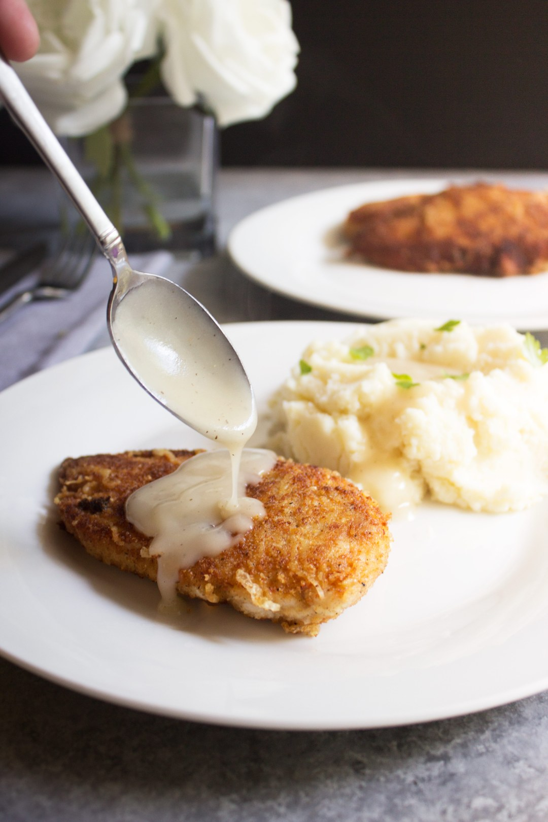 parmesan crusted chicken with pan gravy, chicken, easy, dinner, gravy, recipe, chicken recipe, comfort food, weeknight meal, chicken, chicken breasts, cheese