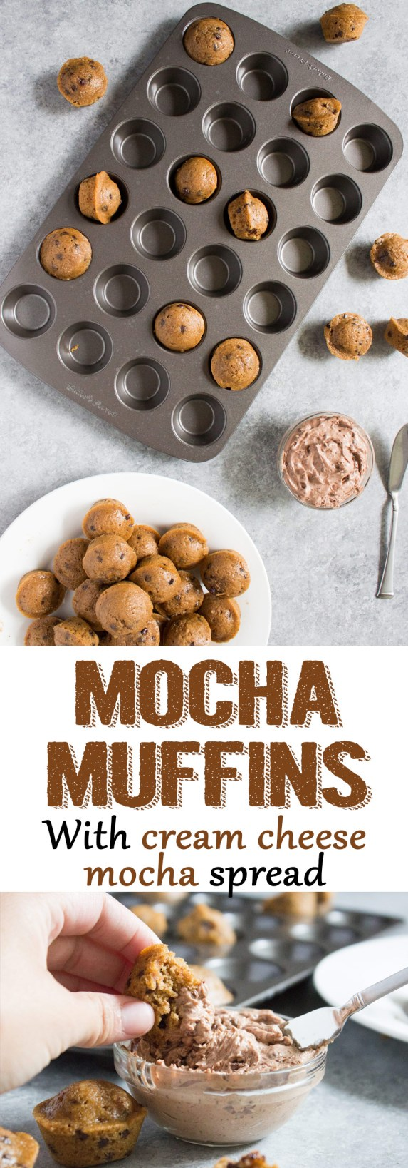 mini mocha muffins, mini muffins, chocolate muffins, blueberry muffins, coffee, coffee muffins, breakfast, dessert, easy, recipe, cream cheese, mocha spread, cream cheese spread