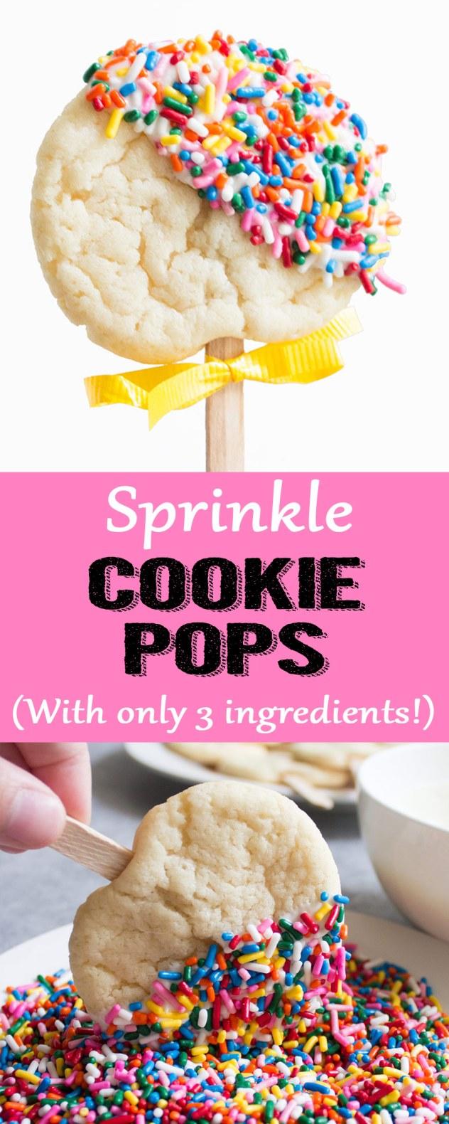 Cookie pop recipe, cookie pops, easy dessert, sprinkles, sugar cookies, sprinkle cookies, back to school, lunch box, lunch box treat,