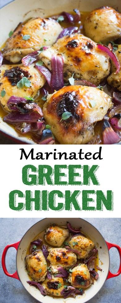 Greek Marinated Chicken Thighs, greek chicken, greek marinated chicken, greek chicken thighs, alexia sides, chicken dinner, chicken thighs