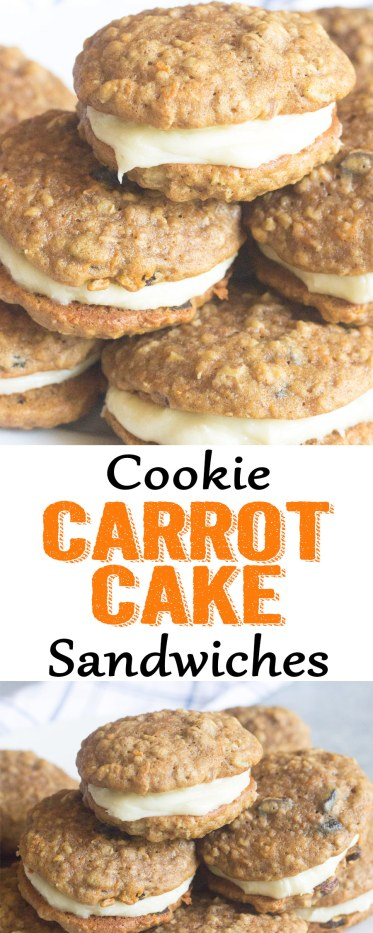 Carrot Cake Cookie sandwiches, carrot cake cookies, carrot cake, carrot cake cookies with cream cheese, cream cheese icing