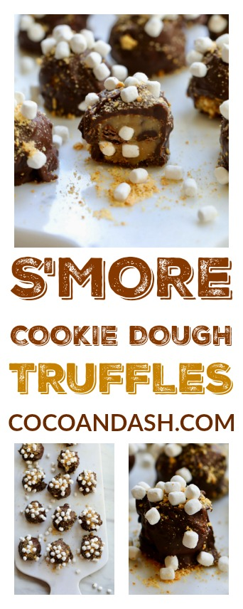 S'more Cookie Dough Truffles are an easy no-bake dessert with chocolate chips, graham crackers, and mini marshmallows! This is a kid-friendly dessert recipe, get them to help you make this s'more candy treat!
