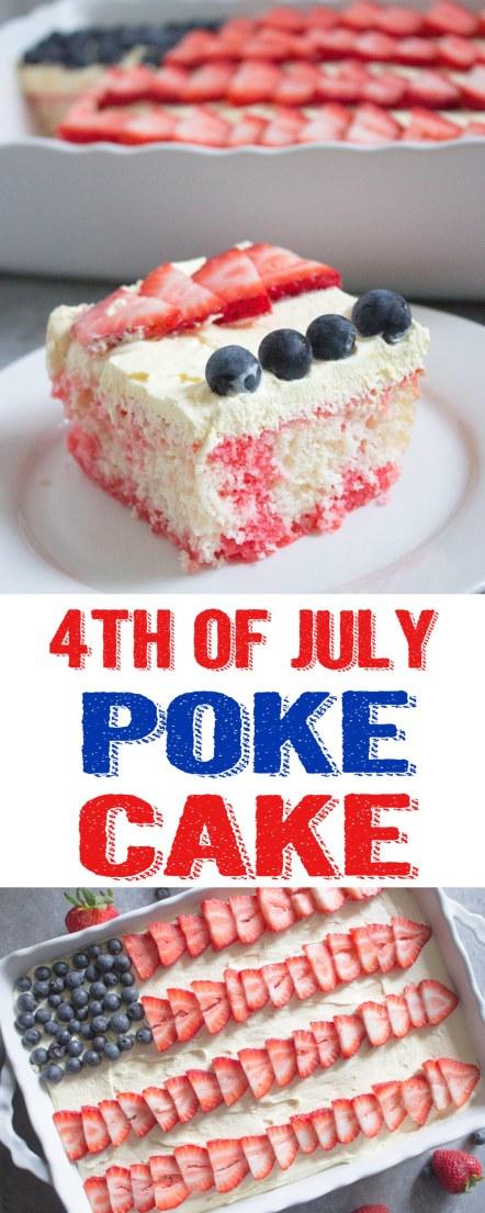 4th of july poke cake, 4th of july cake, 4th of july dessert, patriotic dessert, poke cake, patriotic poke cake