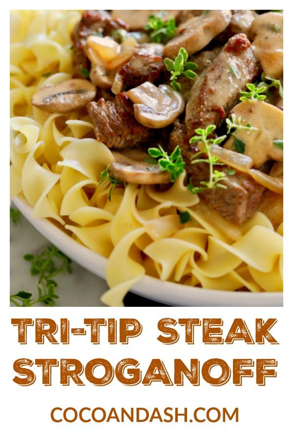 Tri-Tip Steak Stroganoff, steak stroganoff, beef stroganoff, dinner recipe, stroganoff, tritip, tri-trip, coco and ash