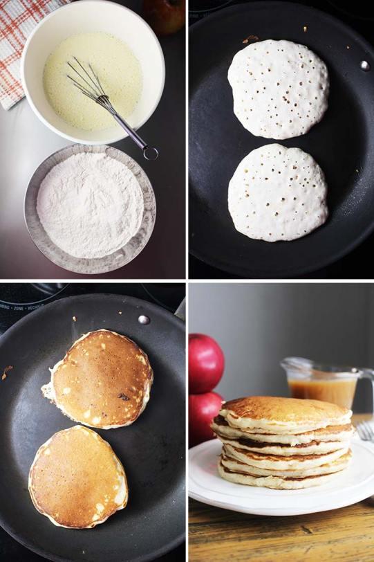 Caramel apple pancakes, apple pancakes, caramel pancakes, cinnamon pancakes, coco and ash, fall breakfast, cinnamon apple pancakes