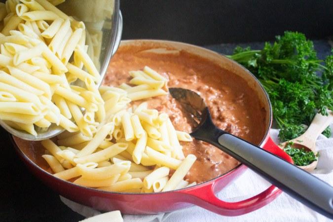 penne alla vodka with pancetta, penne alla vodka, vodka sauce, coco and ash, pasta,