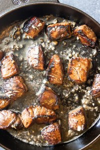 Garlic butter steak bites, marinated steak, marinated steak bites, garlic steak, coco and ash