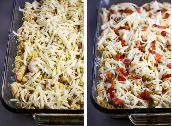 Chicken Alfredo Pasta Bake with Bacon, alfredo casserole, chicken alfredo, coco and ash