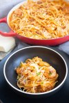 easy shrimp pasta with pink sauce, easy pasta meal, pasta with shrimp, pink sauce, rosa sauce, valentines dinner, coco and ash