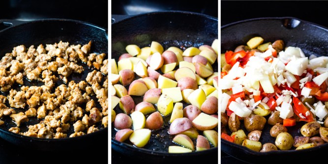 Sausage and Egg Breakfast Hash, breakfast foods, easy breakfast, coco and ash, breakfast skillet, egg hash