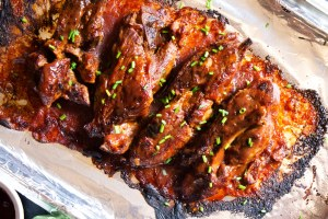 finshed country pork ribs with bbq sauce, pork with bbq sauce, slow cooked country pork ribs, country pork ribs, moist country pork ribs, slow cooker country ribs. slow cooker country pork ribs
