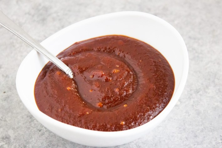 guava bbq sauce, sauce in bowl, coco and ash, guava