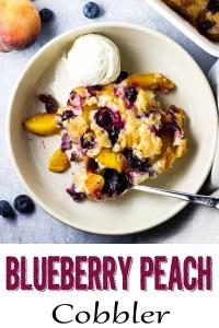 blueberry peach cobber, peach and blueberry cobbler,