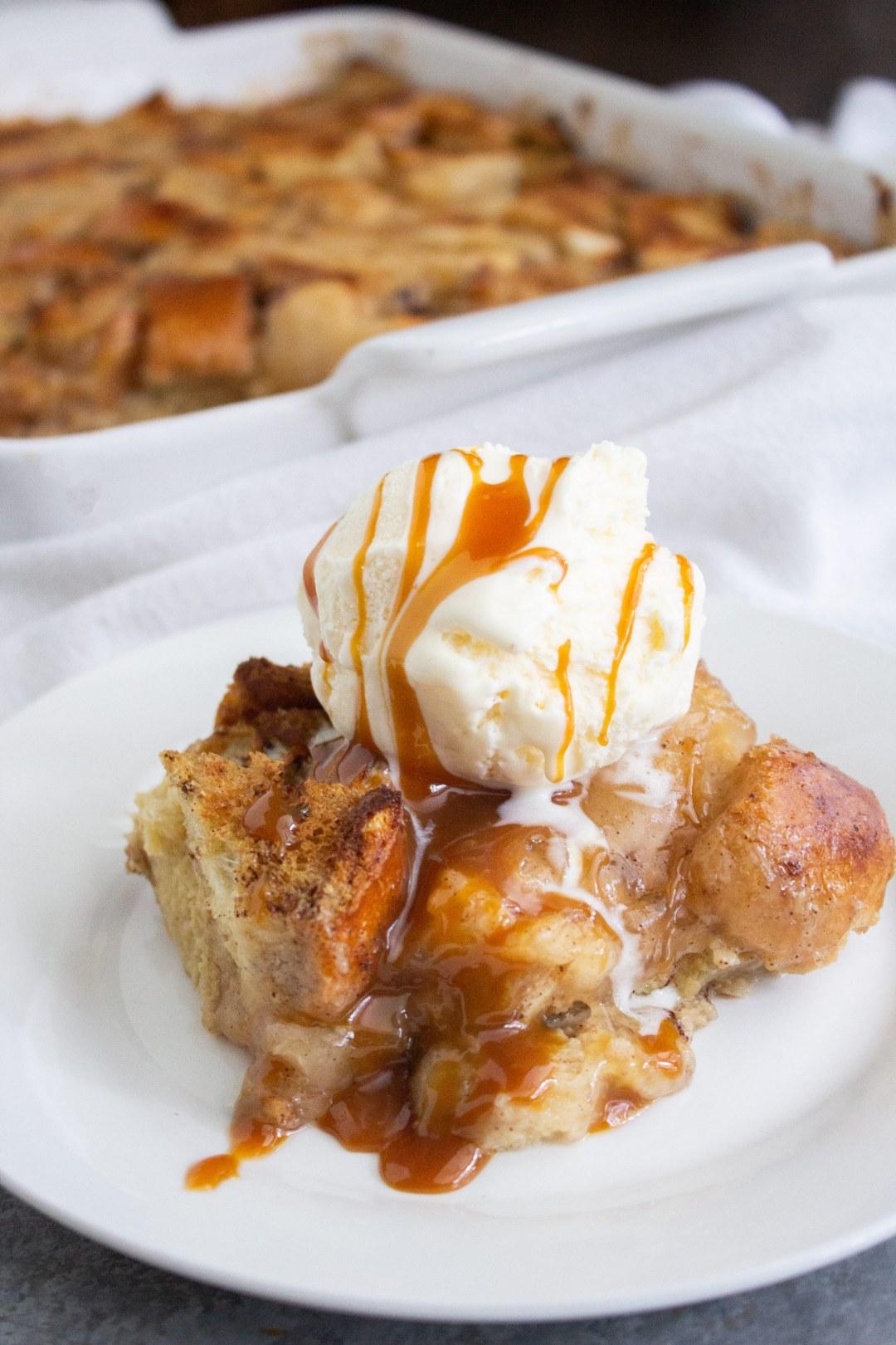 easy apple pie bread pudding, apple bread pudding, bread pudding, fall dessert, coco and ash