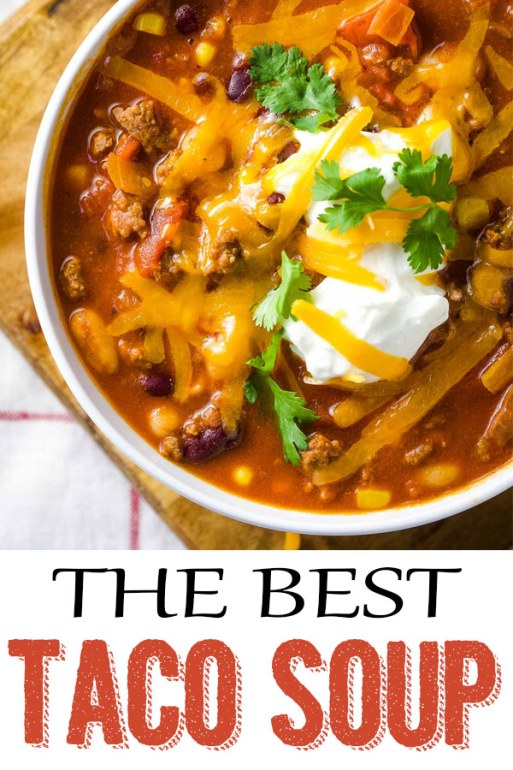 Easy Taco Soup, one pot taco soup, taco soup with toppings