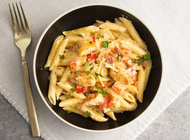 creamy cajun chicken pasta, with cream cheese
