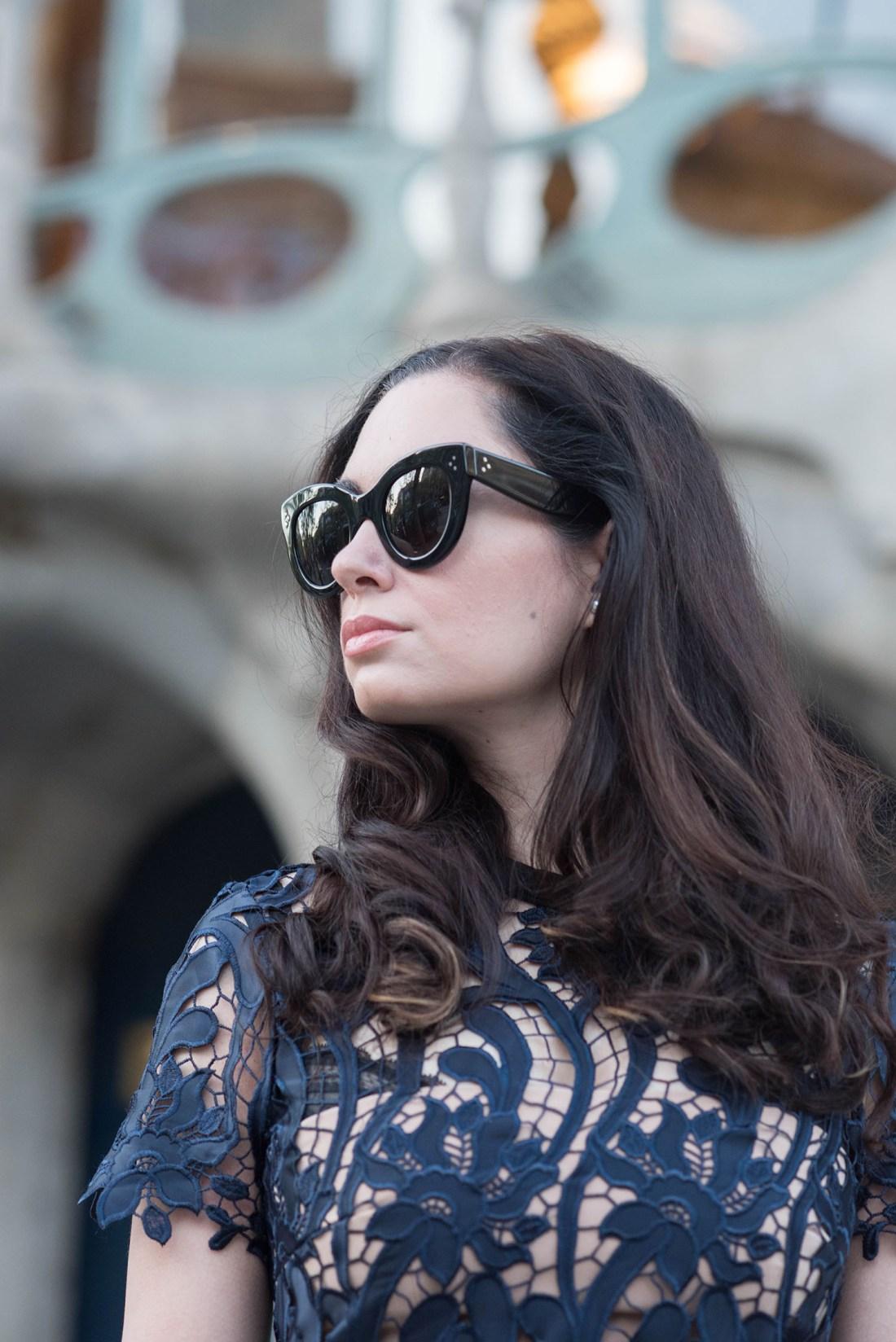Portrait of style blogger Cee Fardoe, wearing Celine and Self-Portrait