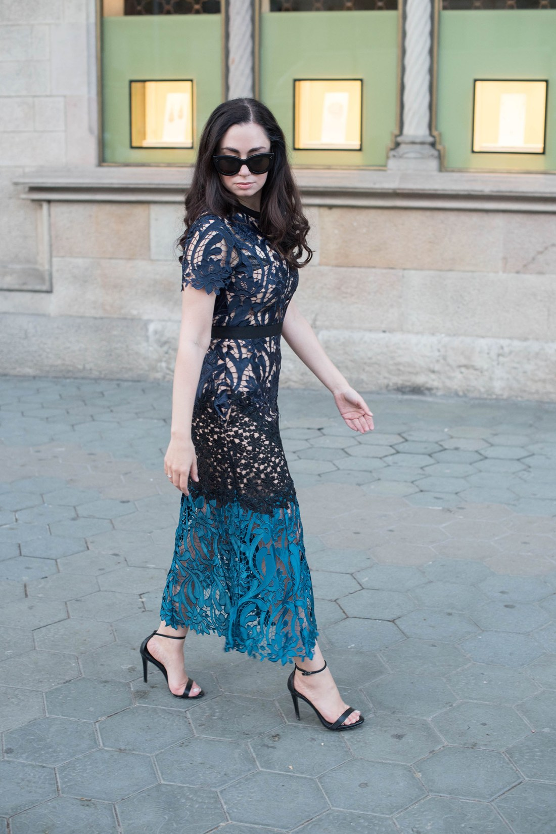 Fashion blogger Cee Fardoe of Coco & Vera wears a Self-Portrait dress in Barcelona