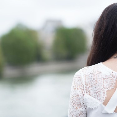 Outfit details on style blogger of Cee Fardoe of Coco & Vera featuring a white lace Sezane blouse