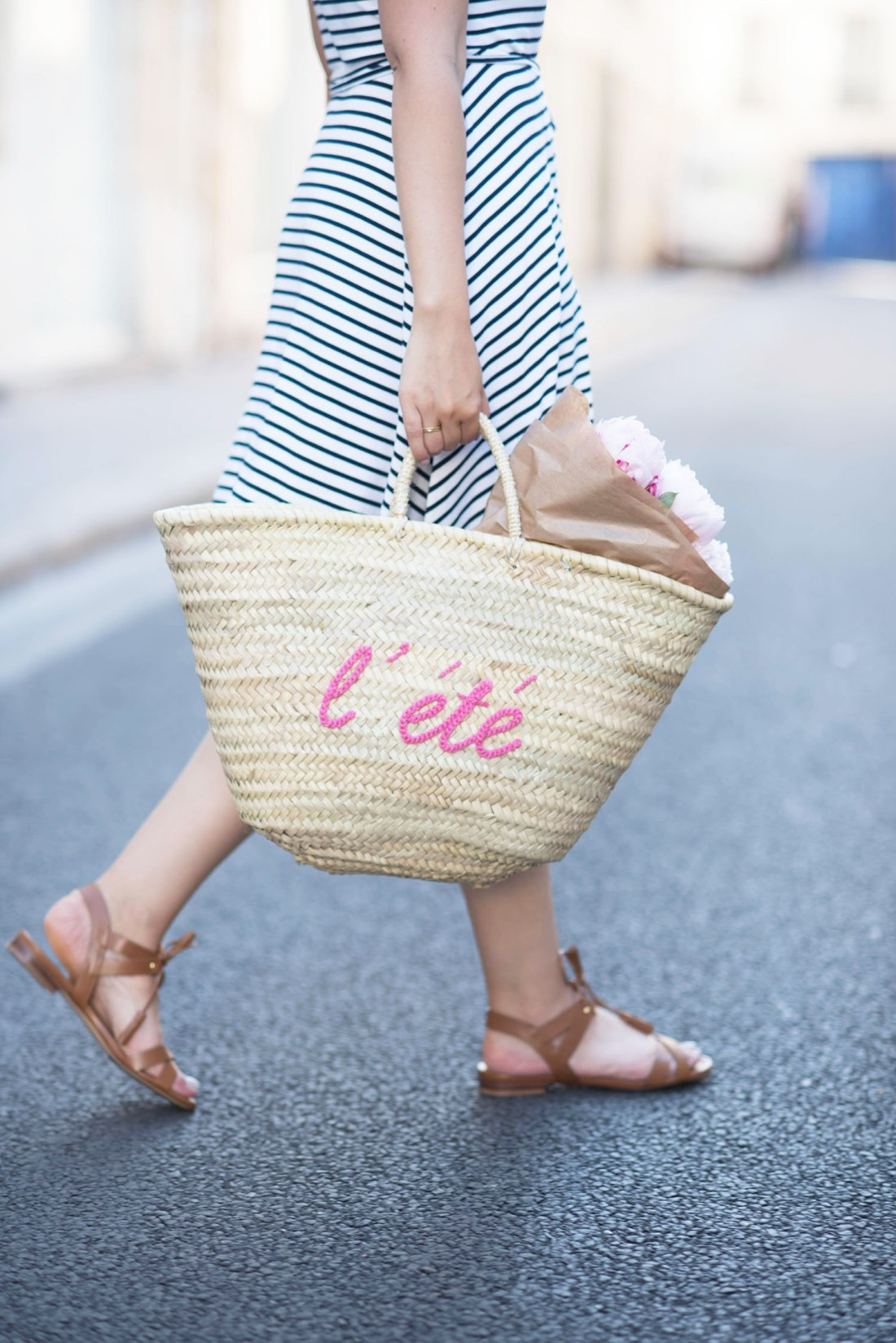 Outfit details on fashion blogger Cee Fardoe of Coco & Vera, including Sezane gladiator sandals and a straw tote