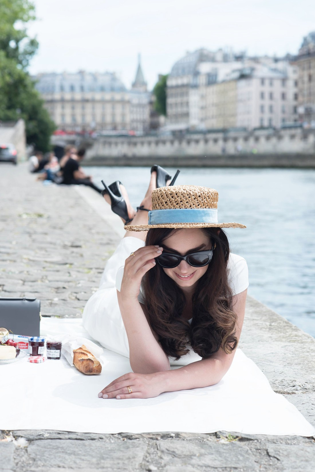 A Bastille Day picnic in Paris with fashion blogger Cee Fardoe of Coco & Vera, who wears a Krasnova Modiste hat and Ivy & Oak dress