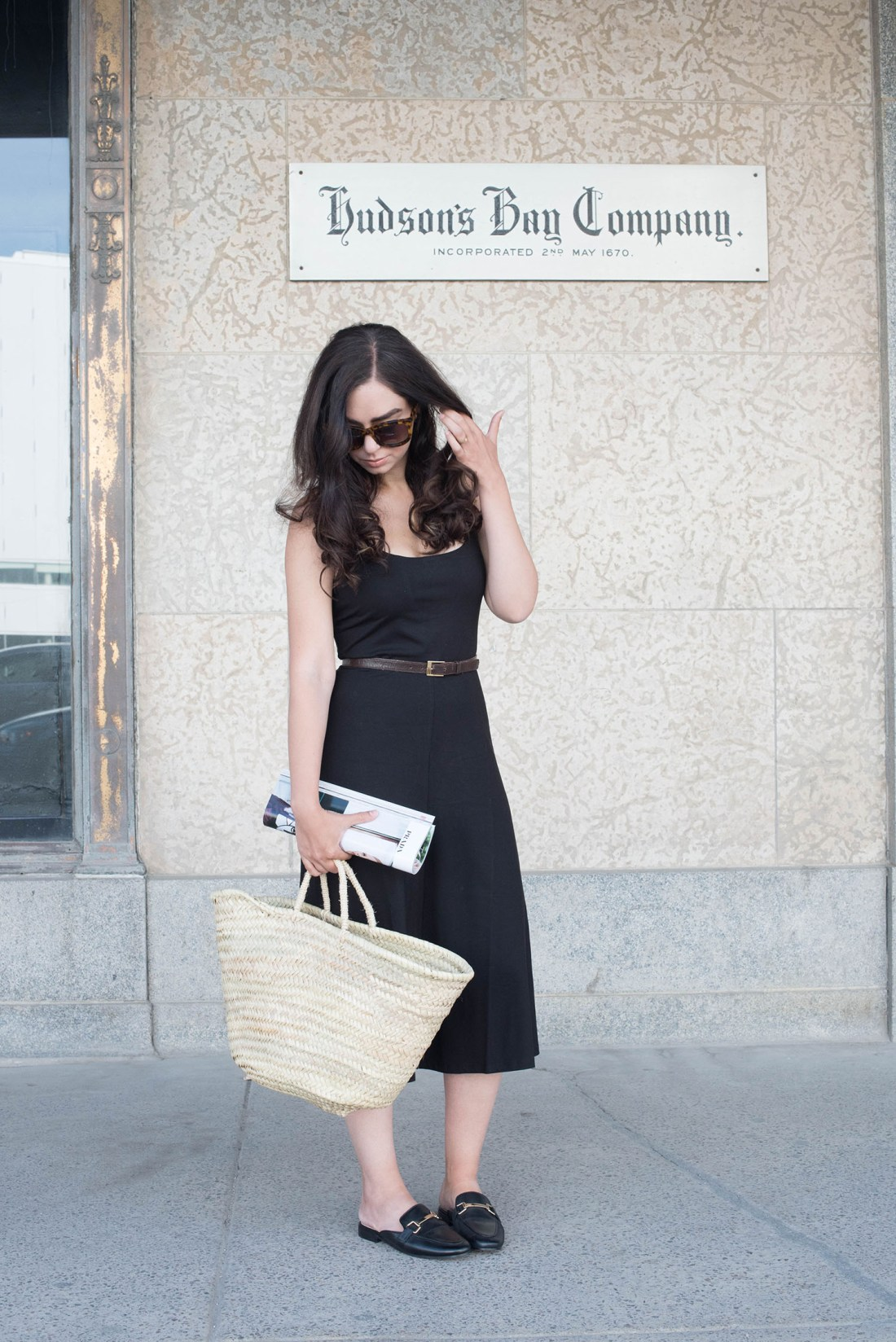 Fashion blogger Cee Fardoe of Coco & Vera wears a Privacy Please dress and vintage belt at The Bay Downtown Winnipeg