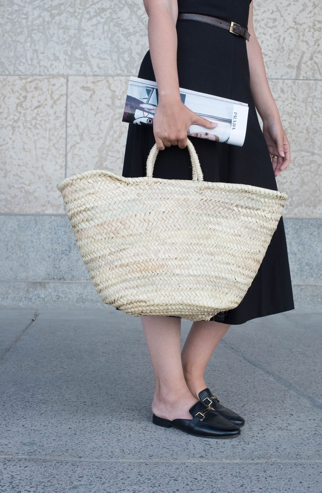 Outfit details on fashion blogger Cee Fardoe of Coco & Vera, including a Sezane straw tote and Jonak mules