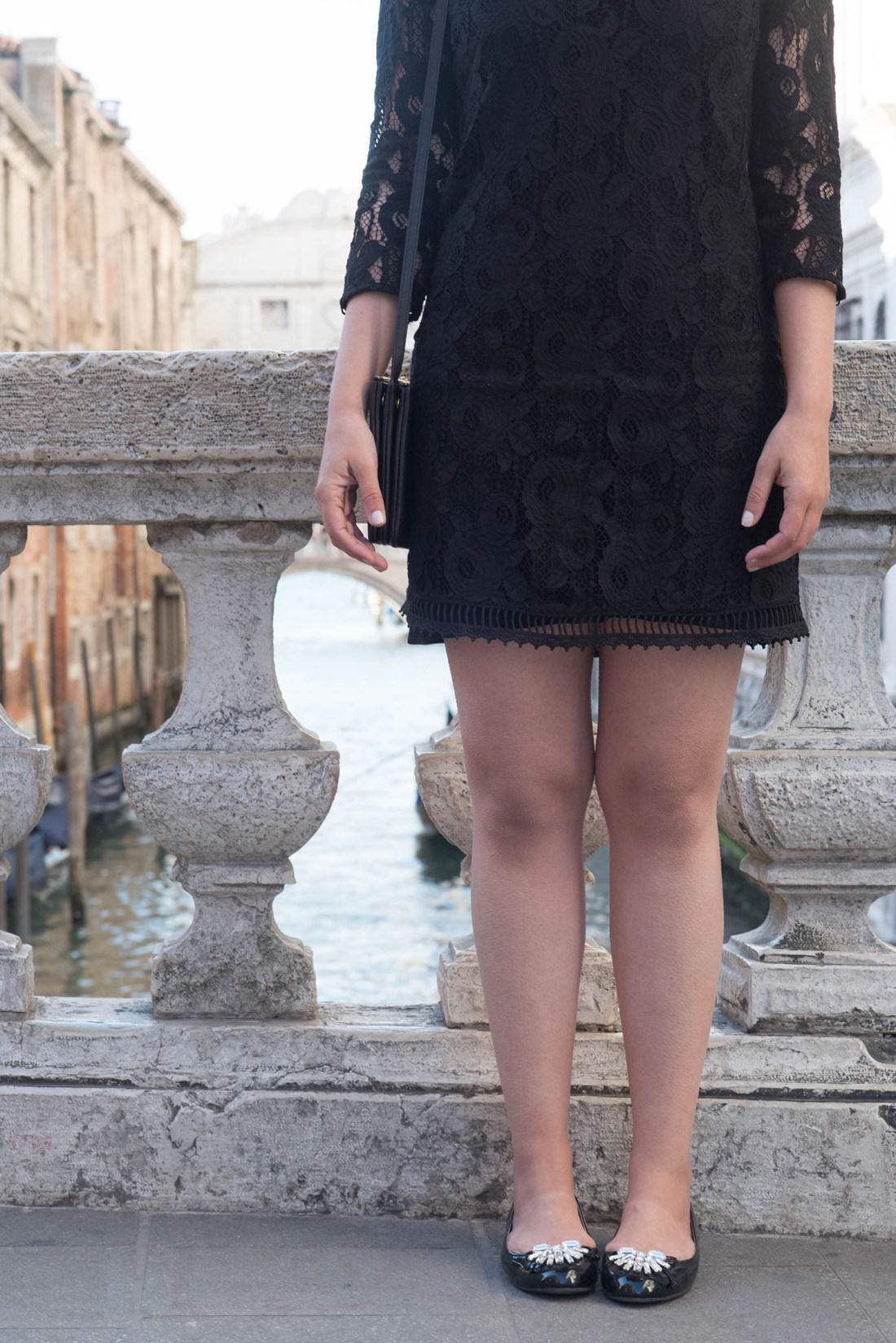 Outfit details on Winnipeg fashion blogger Cee Fardoe of Coco & Vera, wearing Miu Miu patent flats, a Gentlefawn lace dress and Celine trio bag