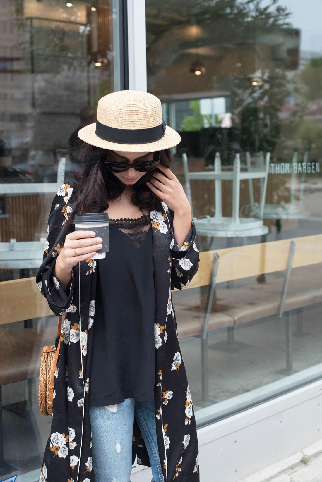 Portrait of fashion blogger Cee Fardoe of Coco & Vera wearing a Zara floral kimono and Madewell black silk tank