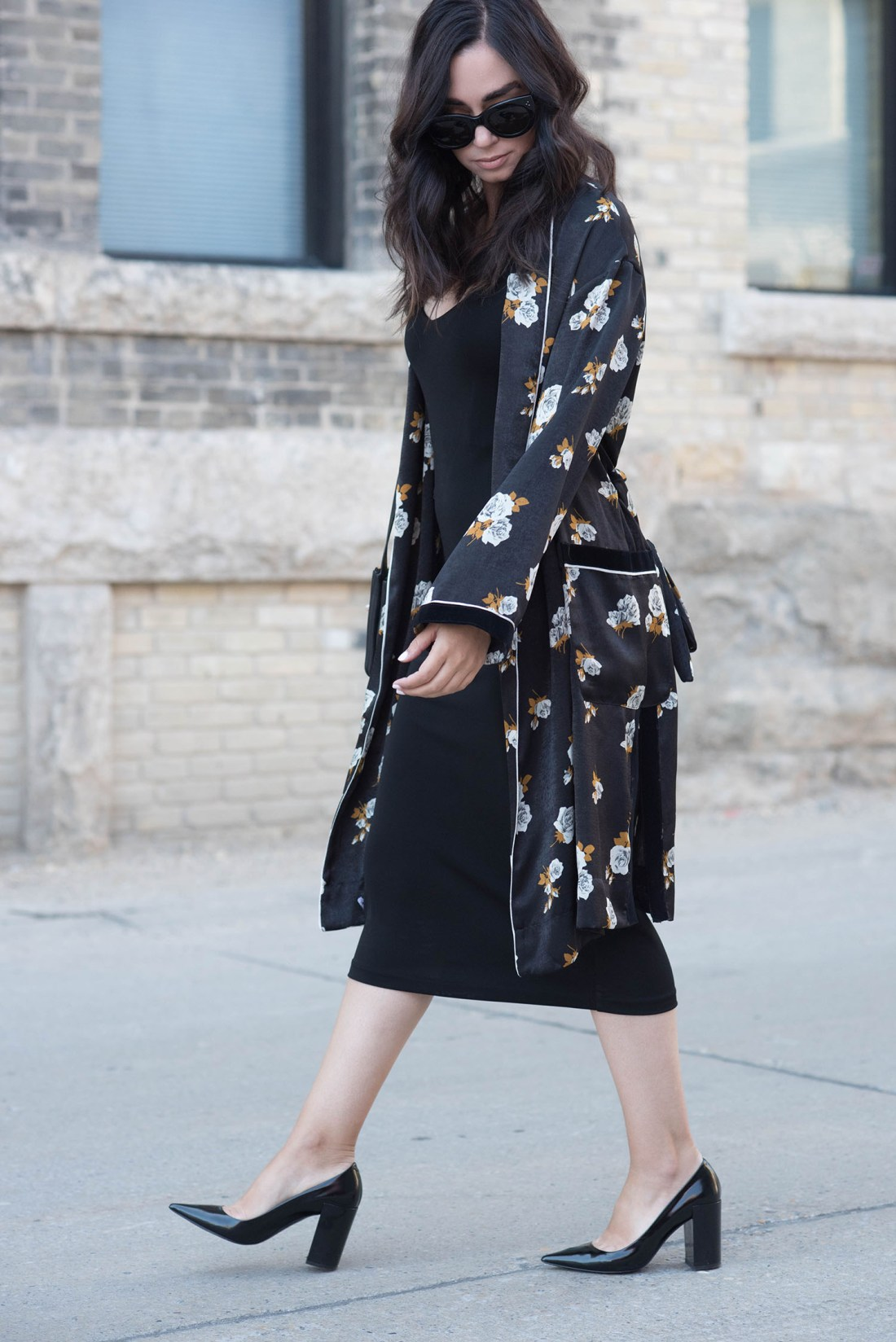 Top fashion blogger Cee Fardoe of Coco & Vera wears a Zara combined kimono and & Other Stories slip dress, with her hair styled by Fran Rizzutto