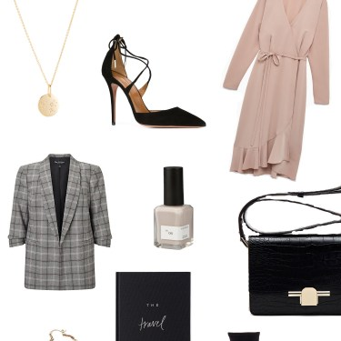 A January 2018 shopping list assembled by fashion blogger Cee Fardoe of Coco & Vera, including an Aritzia Josie dress, Miss Selfridge blazer and Massimo Dutti leather crossbody bag