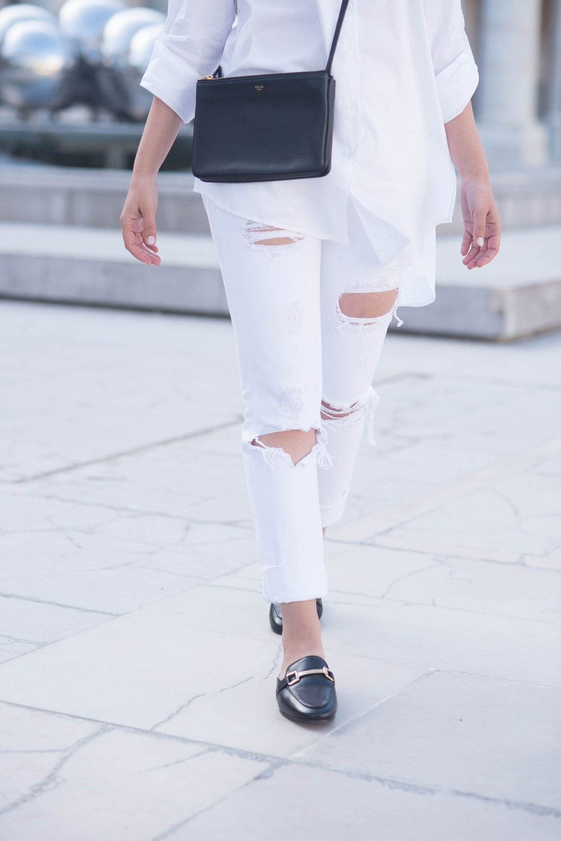 Outfit details on fashion blogger Cee Fardoe of Coco & Vera, wearing Grlfrnd Karolina jeans and Jonak mules