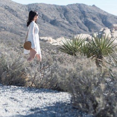 Winnipeg fashion blogger Cee Fardoe of Coco & Vera walks at Red Rock Canyon in Nevada wearing a Tobi dress and carrying a rattan bag