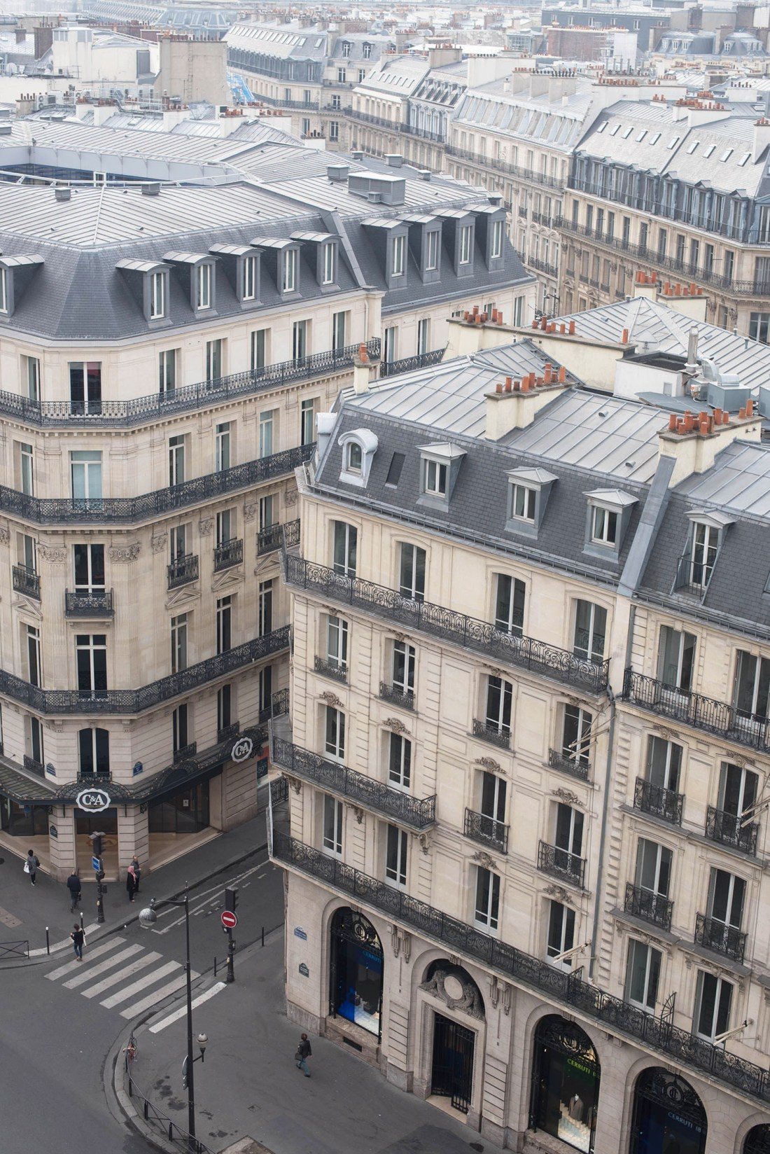The rooftops of Paris near the Opera Garnier seen from above, as captured by travel blogger Cee Fardoe of Coco & Vera