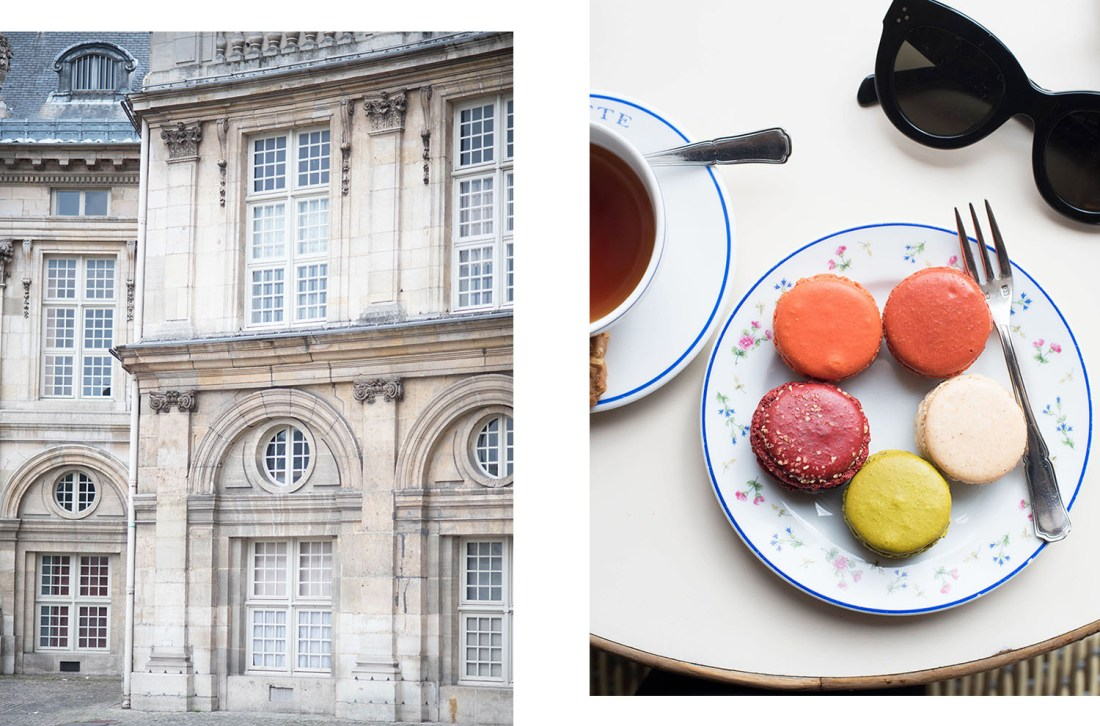 The facade of l'Institut de la France and a plate of macarons at Carette in Paris, as photographed by Canaian travel blogger Cee Fardoe of Coco & Vera