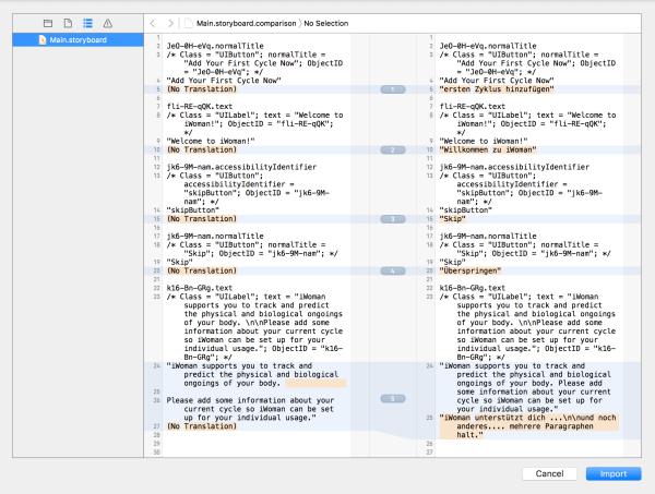 Xcode localization diff