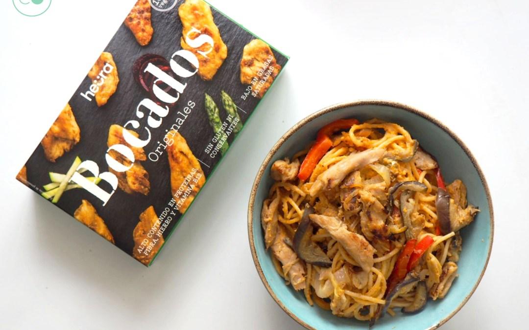 Espaguetis veganos con Heura y salsa de calabaza para desmayarse