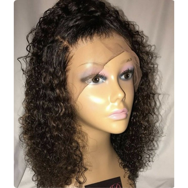 Emily African Curly Brazilian Hair 360 Lace Front Wig With