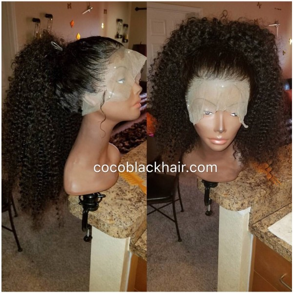 Emily Kinky Curly Brazilian Virgin Human Hair 360 Frontal Wig