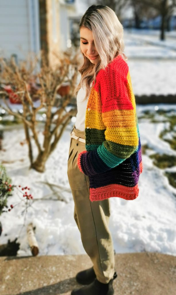 Lee's Rainbow Cardigan - free crochet pattern