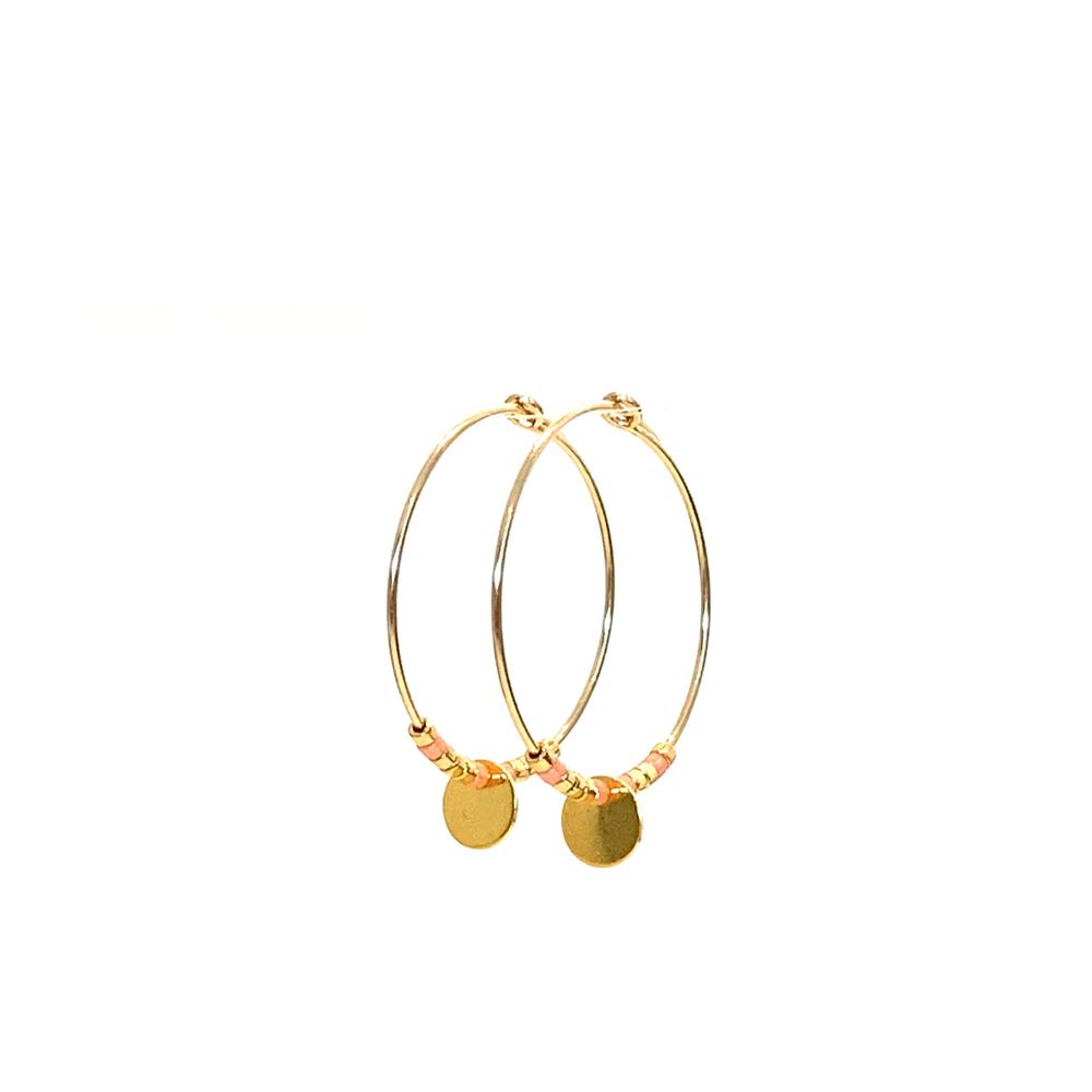 Morse code Earrings Love - peach