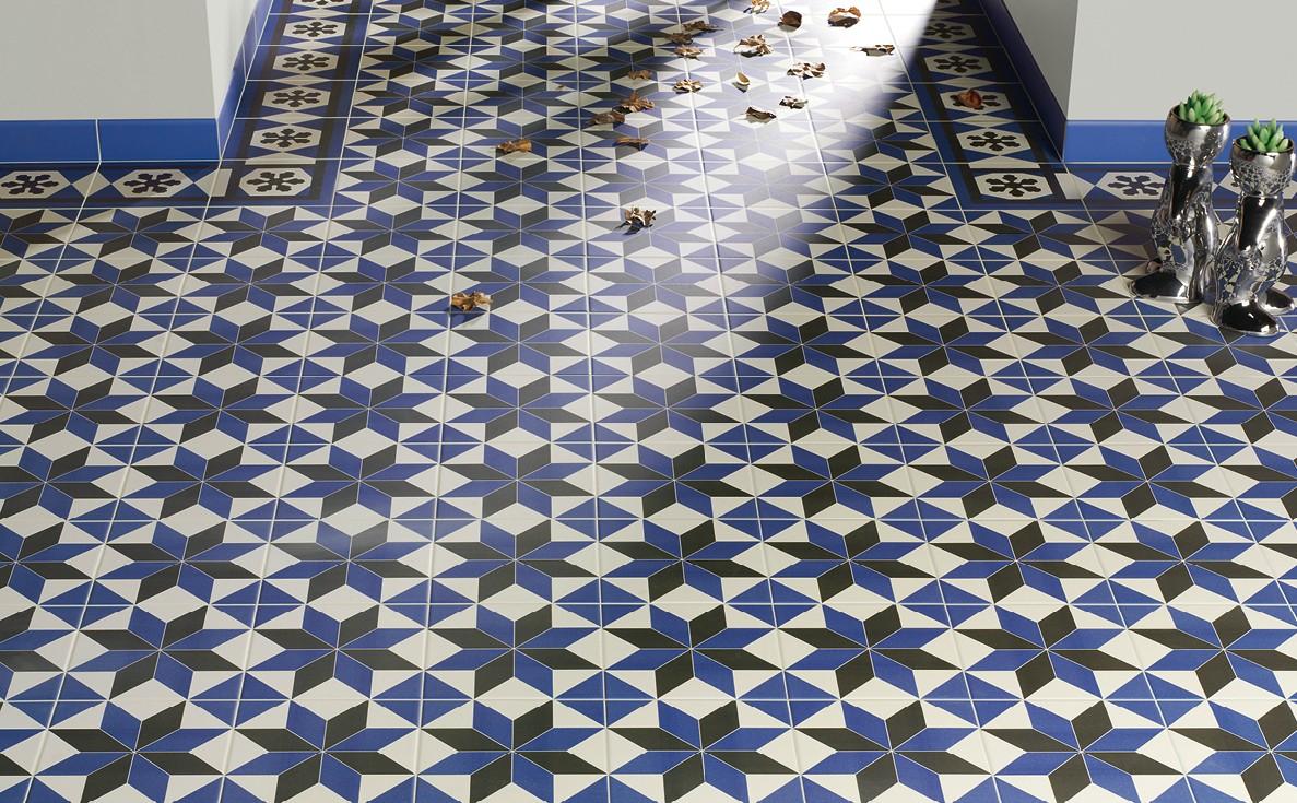 de bain bleu carrelage sol carreaux